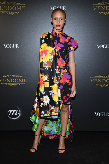 British model Adwoa Aboah, seen here at a Paris Fashion Week event in 2018, is one of numerous celebrities to have championed the movement to remove the stigma associated with menstruation.