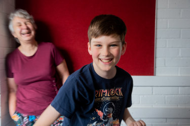 Chris Reiser, 11, with Tombolo Academy co-founder and principal Anne Jackson, has enrolled in Australia's first school for twice-exceptional children.