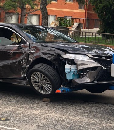 Labor leader Anthony Albanese's car was badly damaged in Friday's accident.