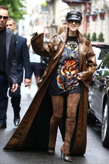 No shrinking violets here ... Celine Dion in head to toe Balmain.