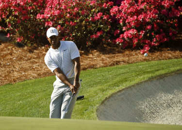 Comeback tour: Tiger Woods during a practice round at Augusta.