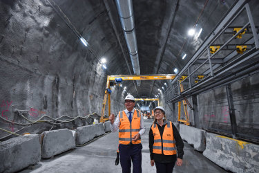 Premier Daniel Andrews and Transport Minister Jacinta Allan inspect works on the Metro Tunnel just before the pandemic.