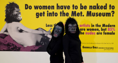 Two Guerrilla Girls earlier this year ahead of an exhibition in Germany. The Guerrilla Girls have operated since 1985  calling attention on the under representation of women  in galleries, museums and other art institutions.