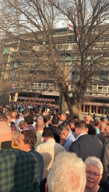 The line to Gate 2 at the Melbourne Cricket Ground.