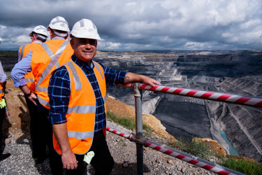 NSW Nationals leader John Barilaro visits the Ravensworth open-cut coal mine in the Hunter Valley earlier this year. A nearby coal mine continues to emit methane despite being under care and maintenance since 2014.