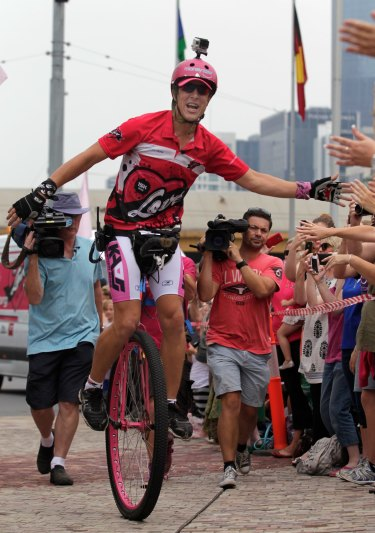 Actor Samuel Johnson raised raised $1.5 million for breast cancer research by riding a unicycle around Australia.