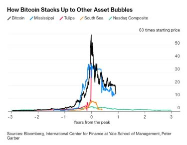 The cryptocurrency surge and fall ranks among the biggest bubbles in history.