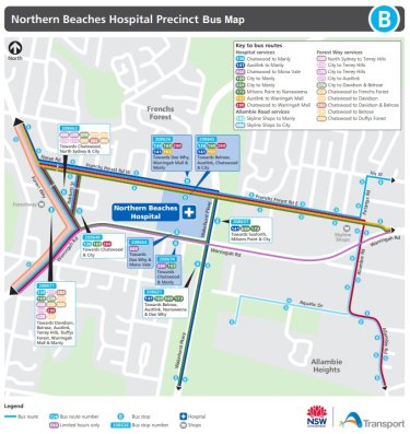 Northern Beaches Hospital precinct bus map.