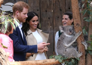 The Duke and Duchess of Sussex meeting their namesakes Harry and Meghan at Taronga Zoo in 2018.