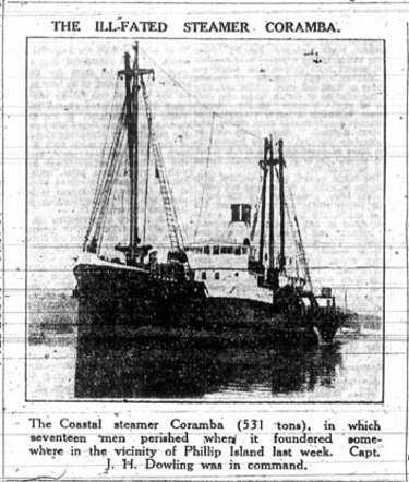 An Age report on the wreck of the Coramba.