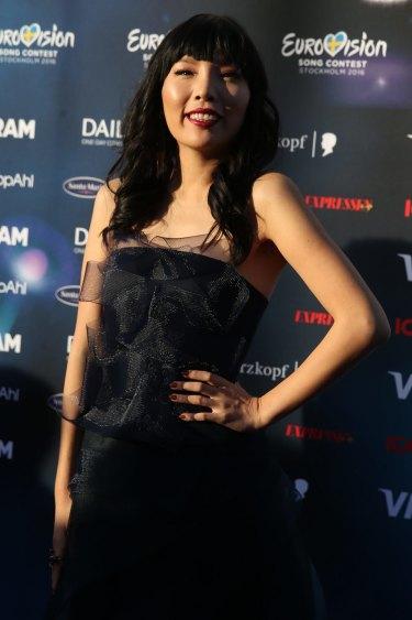 Singer Dami Im representing Australia arrives at the Stockholm City Hall.