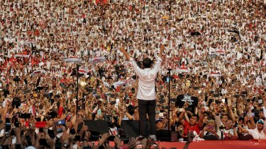 Joko Widodo addresses a huge crowd at his final campaign rally in Jakarta.