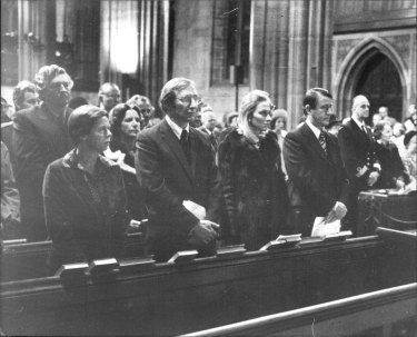 """A special memorial ceremony for Lord Mountbatten and other victims of IRA bombing, was held St Andrews' Cathedral to night. Mr. & Mrs. N. Wran during ceremony."" September 2, 1979."