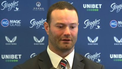Roosters captain Boyd Cordner struggles to contain his emotions as he announces his retirement from rugby league.