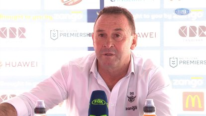 Ricky Stuart talks to the media after Canberra Raiders clash with the New Zealand Warriors in round 19 of the 2020 NRL Premiership.