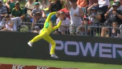Steve Smith was branded 'Superman' after this stunning piece of fielding in the second Australia vs South Africa T20.