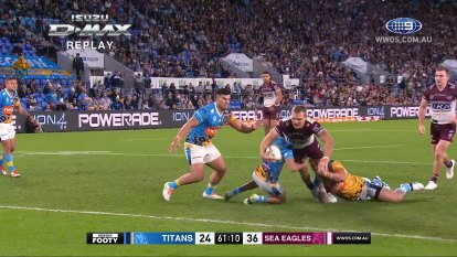 The Gold Coast Titans take on the Manly Sea Eagles at CBUS Super Stadium in round 15 of the 2021 NRL season.
