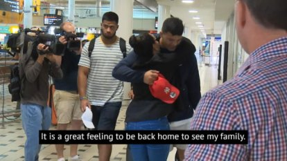Brisbane Broncos forward David Fifita and CEO Paul White have spoken upon the 19-year-old's return to Australia following his stint in a Balinese prison cell.