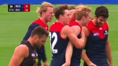 The third quarter provided  action in the practice match between the Melbourne Demons and 2020 champions Richmond Tigers.