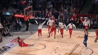 Team Giannis NBA All-Star Trae Young nails half-court buzzer beater in the second quarter.