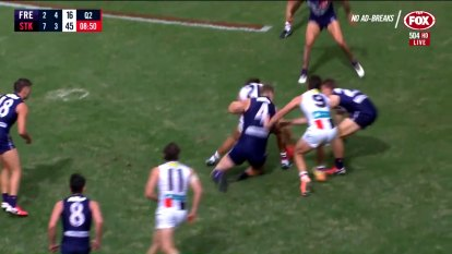 St Kilda's Ben Long faces a suspension over this high bump on Fremantle ruckman Sean Darcy