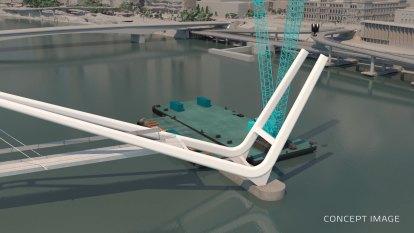 320-metre Neville Bonner Bridge now under construction