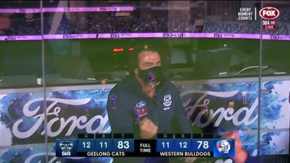 Geelong's Gary Rohan goaled after the siren to give the Cats a nailbiting 83-78 win over the Western Bulldogs at GMHBA Stadium.