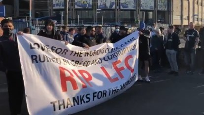 Fans of both Liverpool and Leeds gathered outside the latter's home ground before the first Premier League match since the announcement of a proposed European Super League.