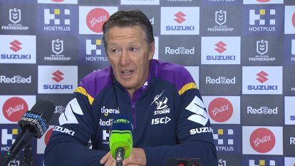 Storm coach Craig Bellamy fronts the media after the Storm's clash with the Bulldogs.