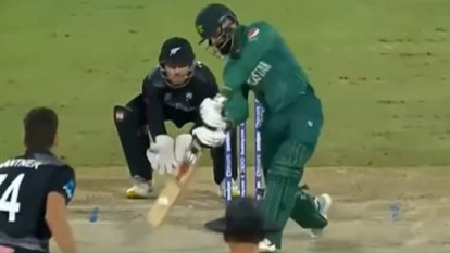Devon Conway produced a brilliant diving catch to dismiss Mohammad Hafeez against Pakistan.