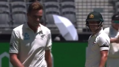 David Warner couldn't help needling Black Caps bowler Tim Southee.