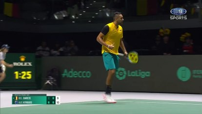 Australia beat Belgium in the opening rubber with 9 out of the last 10 points aces by Nick Kyrgios in a tense last set.