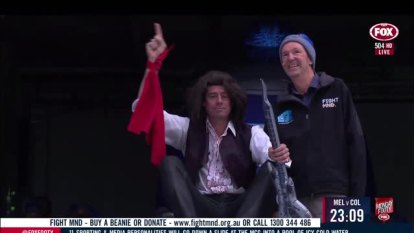 The seventh edition of the Big Freeze featured plenty of footy's biggest names - but it was  Gillon McLachlan who stole the show. The AFL CEO went down the slide dressed as Meatloaf in a nod to the singer's disastrous 2011 Grand Final performance.