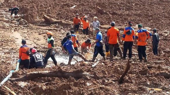 At least five dead in Indonesian landslide, many more missing