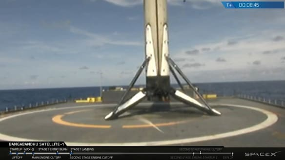 Elon Musk's SpaceX Falcon 9 rocket launches into space before landing itself on ship