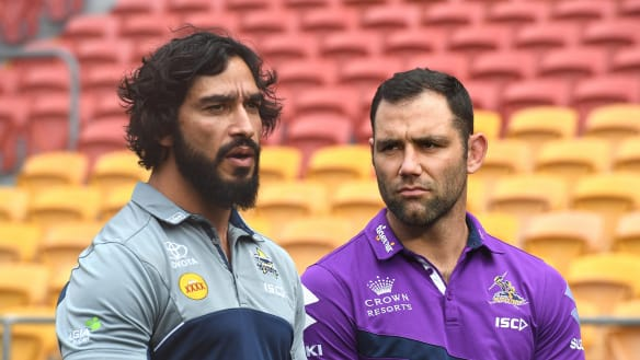Johnathan Thurston (left) and Cameron Smith.