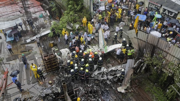 Chartered plane crashes in busy district of Mumbai