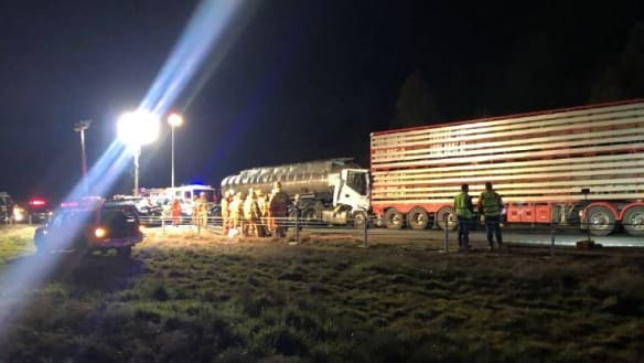 Woman seriously injured after cattle truck, tanker crash on Calder Freeway
