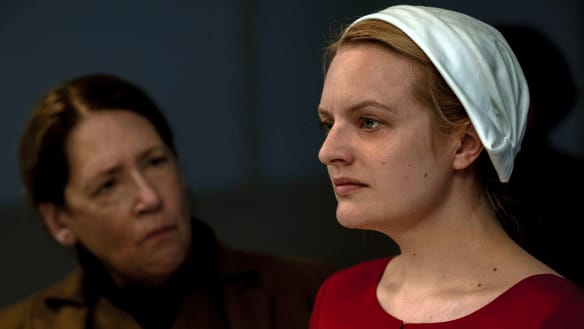 Ann Dowd, left, and Elisabeth Moss in a scene The Handmaid's Tale season 2.