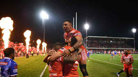 Tonga delight sea of red in Campbelltown with win over Samoa