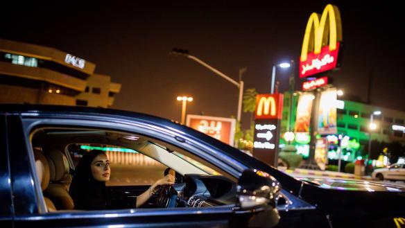Open road: a Saudi woman rejoices as driving ban ends