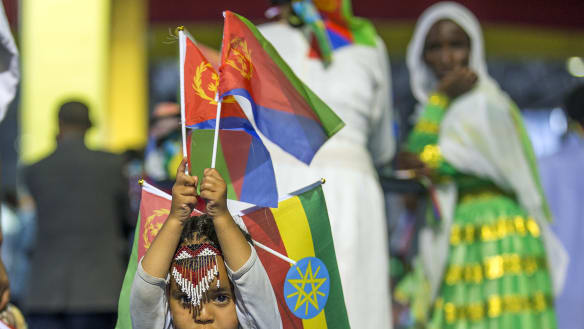 Flags, flowers greet for foes turned friends: Ethiopia and Eritrea