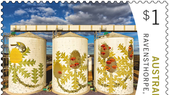 Australia Post stamps get a little grainy as silos take centre stage