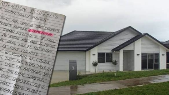 Note warns of 'low income' neighbours possibly moving in next door