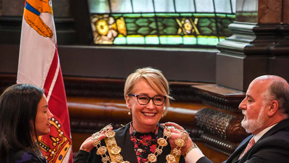 Melbourne's new lord mayor Sally Capp sworn in at Town Hall
