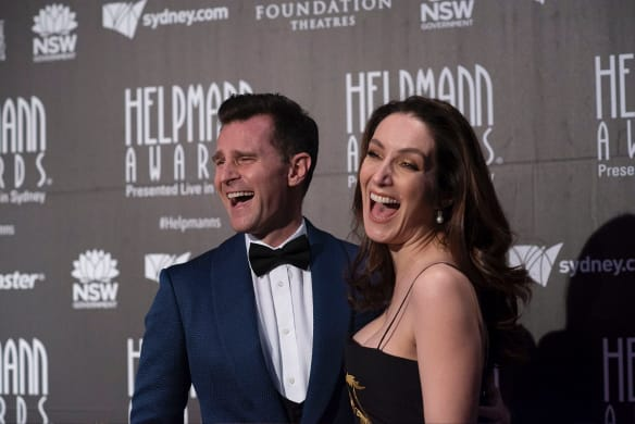 SYDNEY, AUSTRALIA, SMH, JULY 16: David Campbell and Lisa Campbell poses for a photograph on the red carpet of 18th annual Helpmann Awards Act II at the Capitol Theatre on JULY 16, 2018 in Sydney, Australia. (Photo by Christopher Pearce/Fairfax Media)