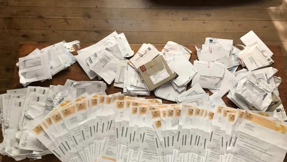 A bag filled with almost 40 same-sex marriage postal survey envelopes addressed to Mona Vale residents was found in a local bin.