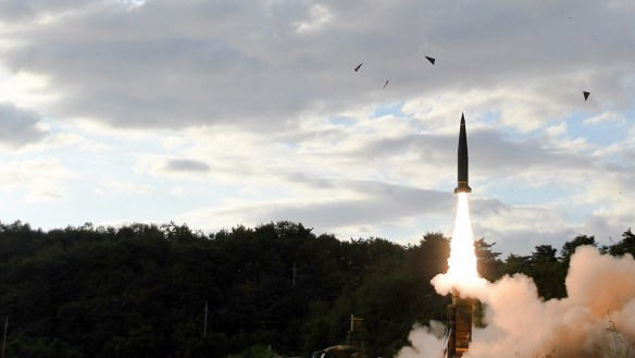 South Korea's Hyunmoo II ballistic missile is fired during an exercise at an undisclosed location in South Korea earlier this month.
