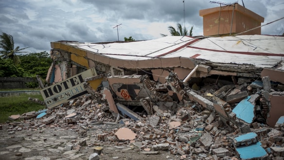 A collapsed section of a hotel following an earthquake in the town of Juchitan, Oaxaca State, Mexico two weeks ago.