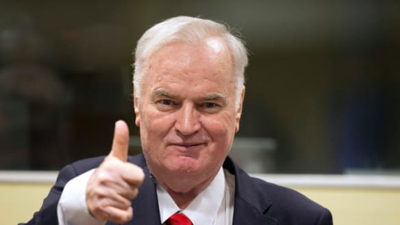 The UN war crimes tribunal convicted Ratko Mladic, seen here entering the court room on Wednesday, of war crimes, genocide and the slaughter of Bosnian Muslims during the break-up of Yugoslavia.